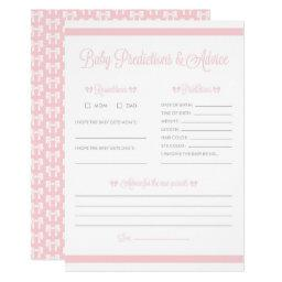 Pink Stripes with Bow Baby Shower Prediction Game
