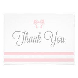 Pink Stripes with Bow Baby Shower Thank You