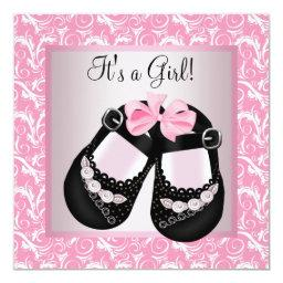 Pink Swirl Black Shoes Pink Black Baby Girl Shower