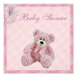 Pink Teddy Bear & Flowers Girl's