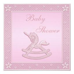 Pink Unicorn Rocking Horse Baby Girl Shower