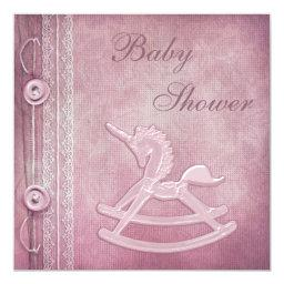Pink Unicorn Rocking Horse & Lace Baby Shower