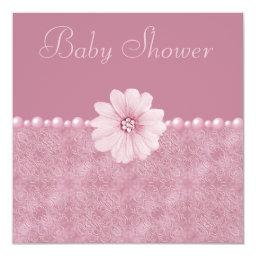 Pink Vintage Baby Shower Bling Flowers & Pearls