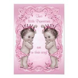 Pink Vintage Princess Twins Baby Shower