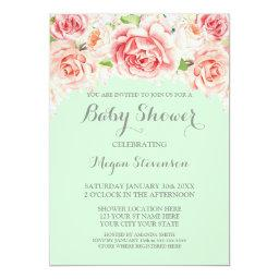Pink Watercolor Floral Mint Baby Shower