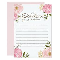 Pink Watercolor Flowers Baby Shower Advice Card II