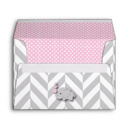 Pink, White Gray Elephant  Envelope