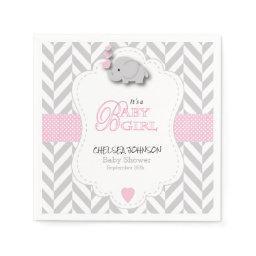 Pink, White Gray Elephant Baby Shower Paper Napkin