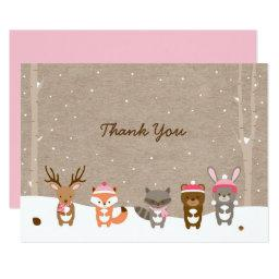 Pink Winter Woodland  Thank You