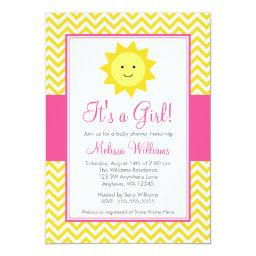 Pink Yellow Sunshine Chevron Girl