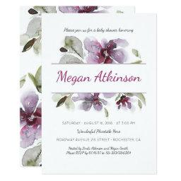 Plum Watercolor Flowers Romantic