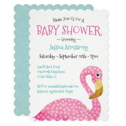 Polka Dot Pink Flamingo Baby Shower