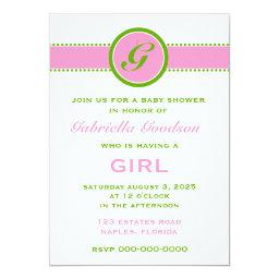 Preppy Pink & Lime Green Monogram Striped 2 Baby