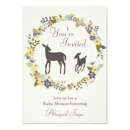 Pretty Flower Wreath and Deer  Invite