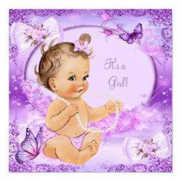 Pretty Girl Baby Shower Purple Butterfly Brunette