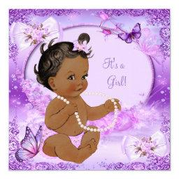 Pretty Girl Baby Shower Purple Butterfly Ethnic