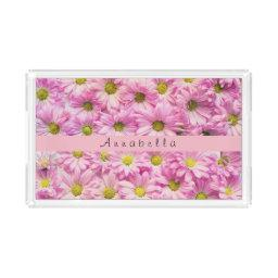 Pretty in pink daisies acrylic tray
