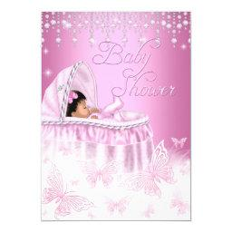 Pretty Pink Sparkle Butterfly Baby Shower Ethnic