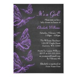 Pretty Purple Butterfly Chalkboard Baby Shower