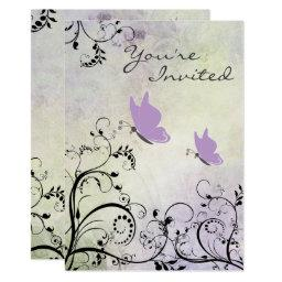 Pretty Silhouette Butterfly  Invite