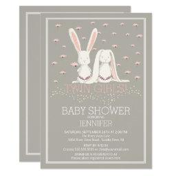 Pretty Spring Pink TWIN Girls Bunny Baby Shower