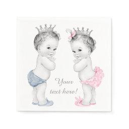 Prince and Princess Twin Baby Shower Napkin
