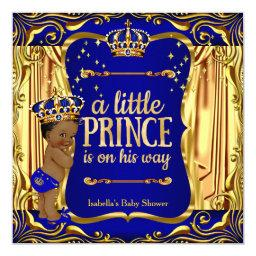 Prince  Blue Gold Ethnic Boy Invite