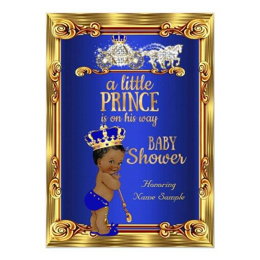 baby shower prince baby shower royal blue gold carriage ethnic card
