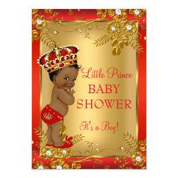 Prince Boy Baby Shower Red Gold African American