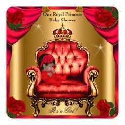 Princess  Girl Gold Red Rose Chair 5