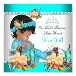 Princess  Girl Teal Blue Flowers