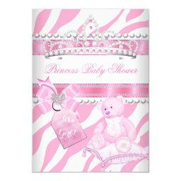 Princess Baby Shower Girl Zebra Pink White Bear
