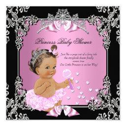 Princess Baby Shower Pink Black Tutu Brunette