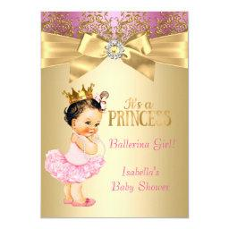 Princess  Pink Gold Ballerina Brunette