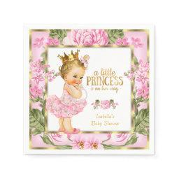 Princess Baby Shower Pink Gold Rose Floral Blonde Napkin