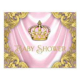 Princess Baby Shower Pink Satin and Gold Swirl