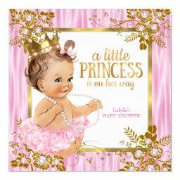 Princess Baby Shower Pink Silk Floral Brunette