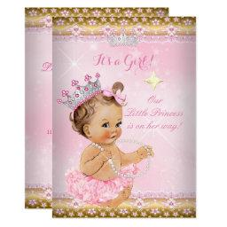 Princess Baby Shower Pink Tutu Gold Tiara Brunette