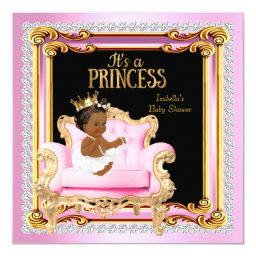 Princess Baby Shower Silver Pink Gold Chair Ethnic