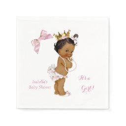Princess Girl  Pink Gold Crown Ethnic Napkin