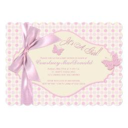 PRINTED BOW/Ribbon Pink Polka Dots