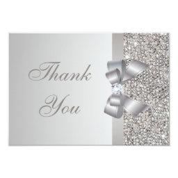 Printed Silver Sequins, Bow & Diamond Thank You