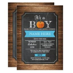 Pumpkin  It's a Boy Party blue Invite