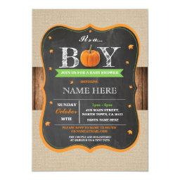 Pumpkin  It's a Boy Party rustic Invite