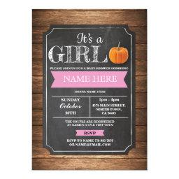 Pumpkin  It's a Girl Party Pink Invite