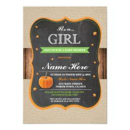 Pumpkin  It's a Girl Party wood Invite