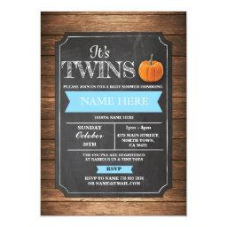 Pumpkin  It's Boy Twins Party Invite