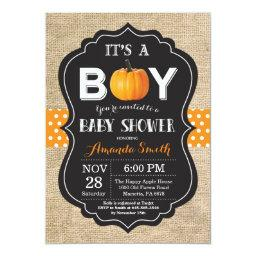Pumpkin Fall  Invitation  Burlap