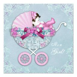 Purple and Pink Baby Carriage Baby Girl Shower