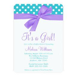 Purple and Teal Faux Bow Polka Dot Baby Shower